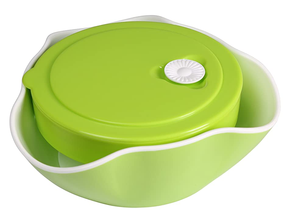Kitchen Winners Multi Sectional Double snack dish with lid for nuts fruits candies and more.. (Medium, Green)