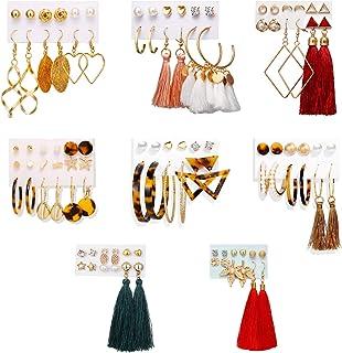 Nanafast 51 Pairs Earring Set Lightweight Tassel Earrings Acrylic Hoop Stud Earrings Leaf Dangle Earrings for Women Girls ...