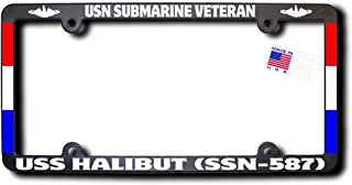 USN Submarine Veteran USS HALIBUT (SSN-587) License Frame w/REFLECTIVE TEXT, DOLPHINS, RIBBONS