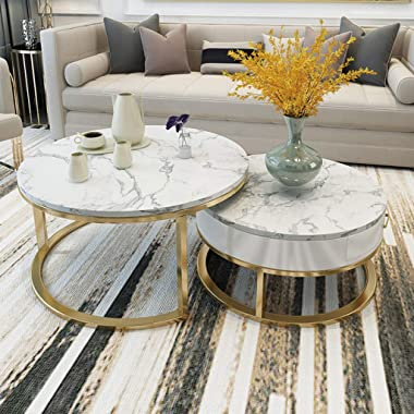 Coffee Tables Nesting Coffees End Tables Drawer Storage White Marble Top Side Table Round Occasional Stand Tea Table for Livi