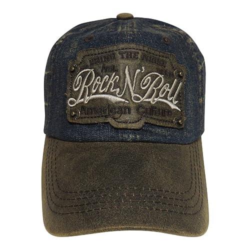 eaa6145072aed Rock N Roll Washed Denim Baseball Cap Headwear Hat