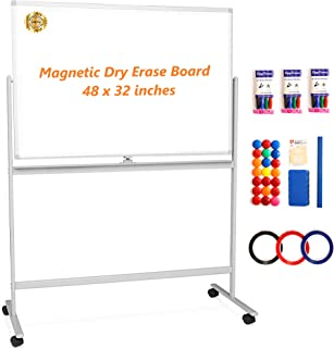 Mobile Whiteboard Large White Board - 48x32 Magnetic Dry Erase Board with Stand - Rolling White Board on Wheels - Portable Double Sided Easel for Office, Classroom, Home - Bonus 6 Accessories