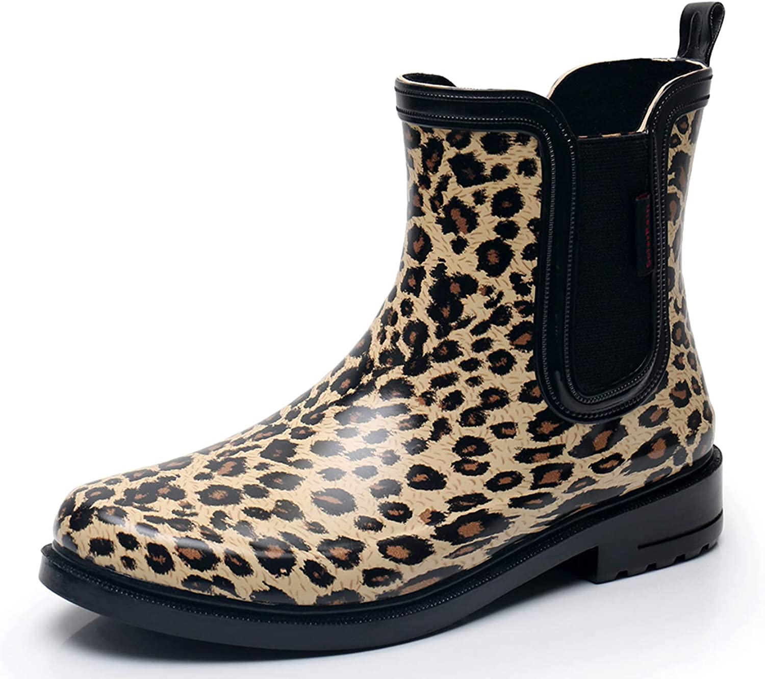 SOLARRAIN Women's Elastic Short Ankle Rubber Rain Boots Non Slip Waterproof Insulated Leopard Print Rain shoes