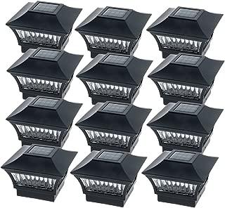GreenLighting Black Aluminum 4 x 4 Solar Post Cap Light Wood/PVC Posts (12 Pack)