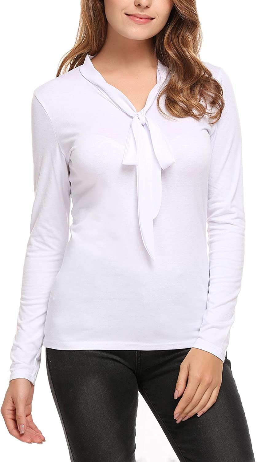 ELESOL Women Tie Bow Neck Long Sleeve Slim Fit Casual Work Business Top Blouse