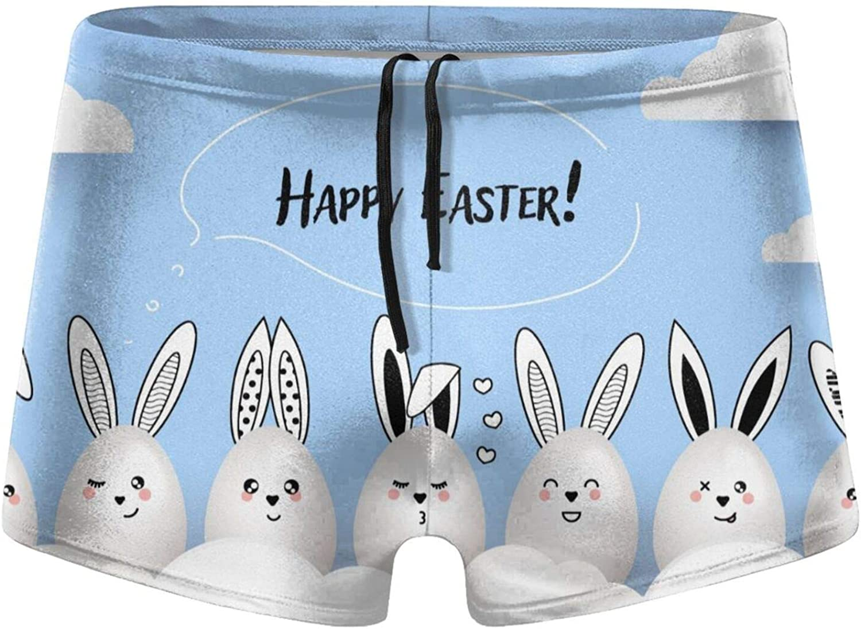 Christmas Happy Easter Funny Cute Rabbits Men's Swimming Trunks Fitness Swimwear Boxer Pants Board Shorts