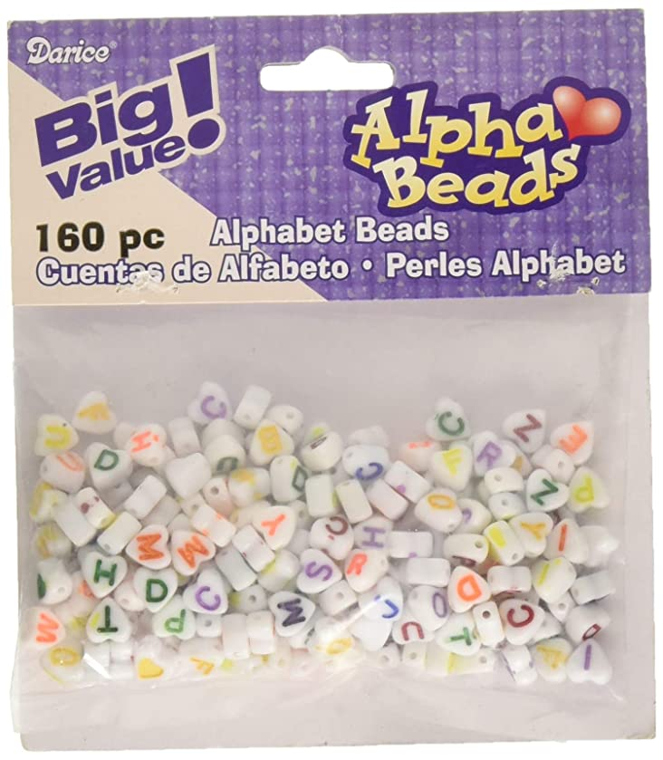 Darice White with Colored Letters-6mm-Big Value Heart Shaped Alphabet Beads