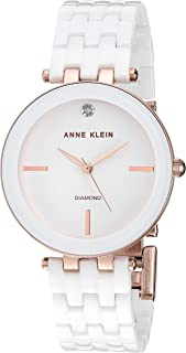 Anne Klein Women's AK Diamond-Accented Ceramic Bracelet Watch