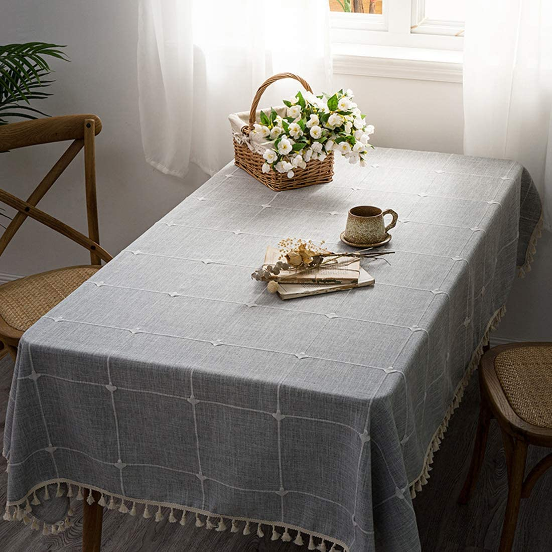 Easy to Scrub Durable and Stable BUBIQUER Flannel Backed Vinyl Tablecloth 54 x 54 Table Cover for Indoor and Outdoor Decoration Waterproof and Oil Proof Blue