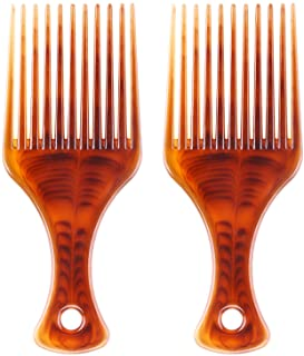 BTYMS 2 Pcs Afro Comb Smooth Hair Pick Comb Lift Detangle Hair Comb African Hair Brush Hairdressing Styling Tool