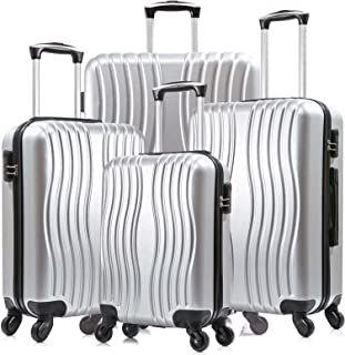 4 Piece Luggage sets PC Material with Spinner Wheels Travel Suitcase Hard-shell Lightweight 18-28 Inch (Silver)