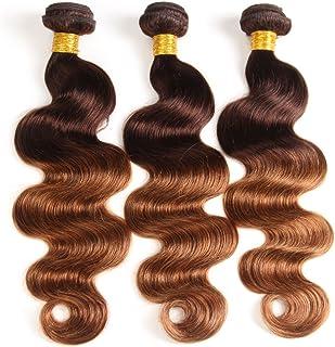 2 Tone Ombre Hair Brazilian Virgin Hair Body Wave 3 Bundles Hair Weaves Human Hair Extensions T4/30 Medium Brown/Medium Auburn(10 12 14)