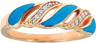 14K Rose Gold Diamond and Turquoise Ring