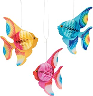 Fun Express Hanging Tissue Fish Decorations (6 pc) Party Decor, Hanging Decor, Under The Sea Adventures for Home, School or Office
