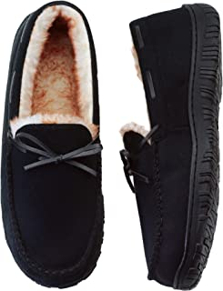 VLLY Mens Slippers Moccasins for Men Cozy Pile Lined with Microsuede Upper Indoor Outdoor Slip On House Shoes