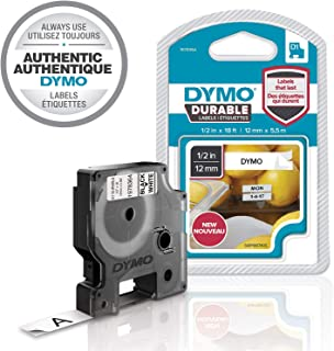 "DYMO D1 Durable Labeling Tape for LabelManager Label Makers, Black Print on White Tape, 1/2"" W x 18` L, 1 Cartridge (1978364),Black on White"