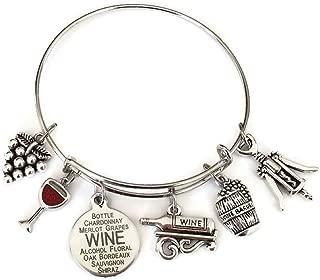 Kit's Kiss Wine Bracelet, Wine Jewelry, Gift for Wine Lover, Wine Charm Bracelet, Grape, Red Wine Glass, Wine Opener, Wine Barrel, Wine Bottle, Wine Gift, Wine Bangle Bracelet