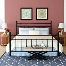 Metal Bed Frame Queen Size Platform with Steel Headboard and Footboard Mattress Foundation Bedroom Furniture Box Spring Replacement for Adults Victorian Style Black