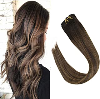 VeSunny Balayage Hair Extensions Clip in Remy Double Weft 18Inch Color Dark Brown to Medium Brown Highlights 100% Real Human Hair Extensions Clip in Brazilian Hair 7pcs/120g