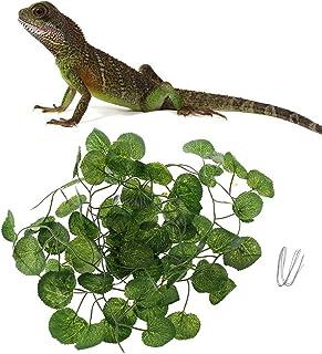 Lazder Terrario artificial de vid reptil caja de hábitat decoración lagarto verde plantas falsas hojas