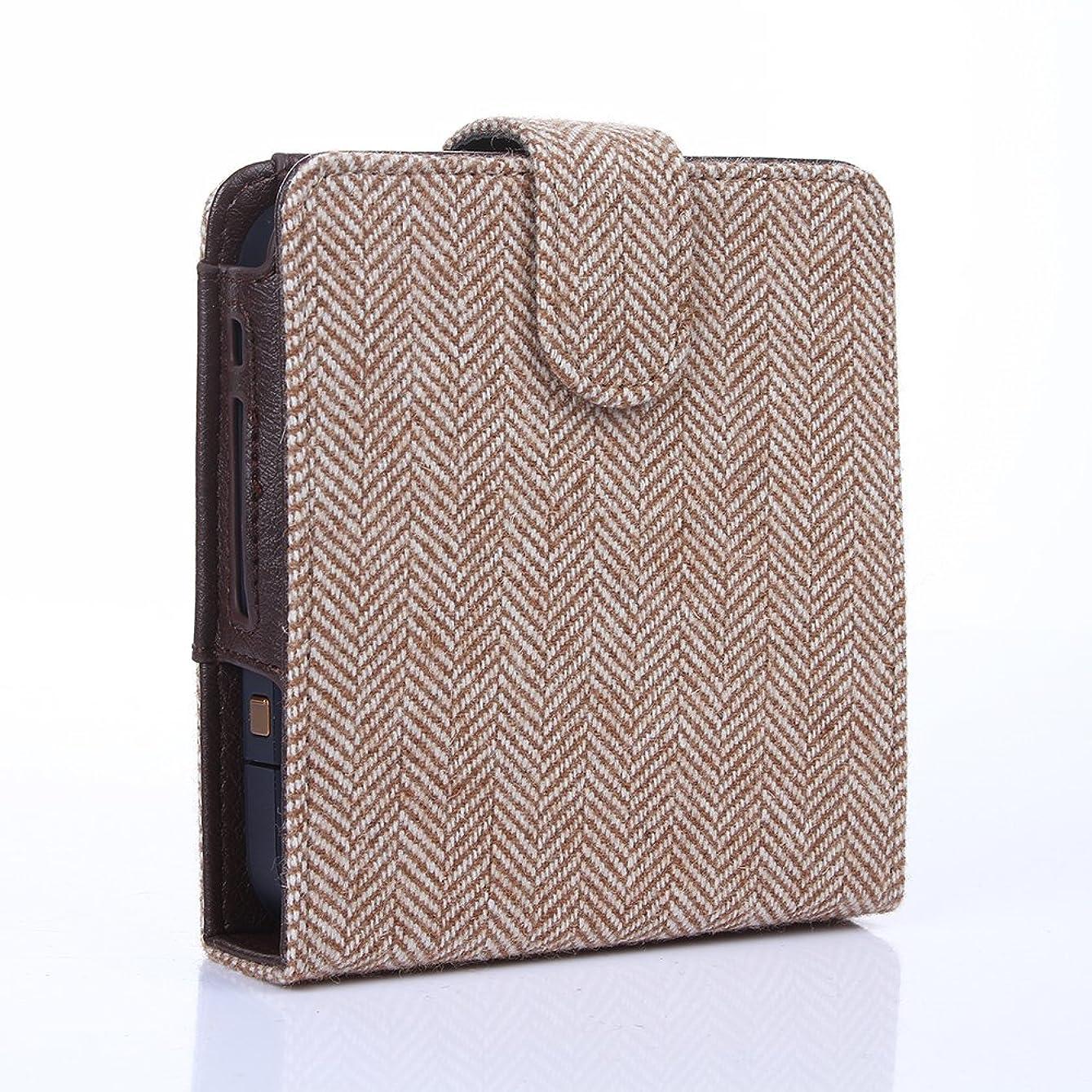 体マージンフィールドヘリンボーン トラッドスタイル カードポケット付き アイコスケース (ベージュ)