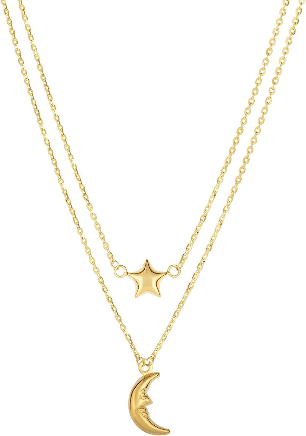 14k Popular popular Yellow Gold Max 55% OFF Moon And Star On S to Single Double In Graduated