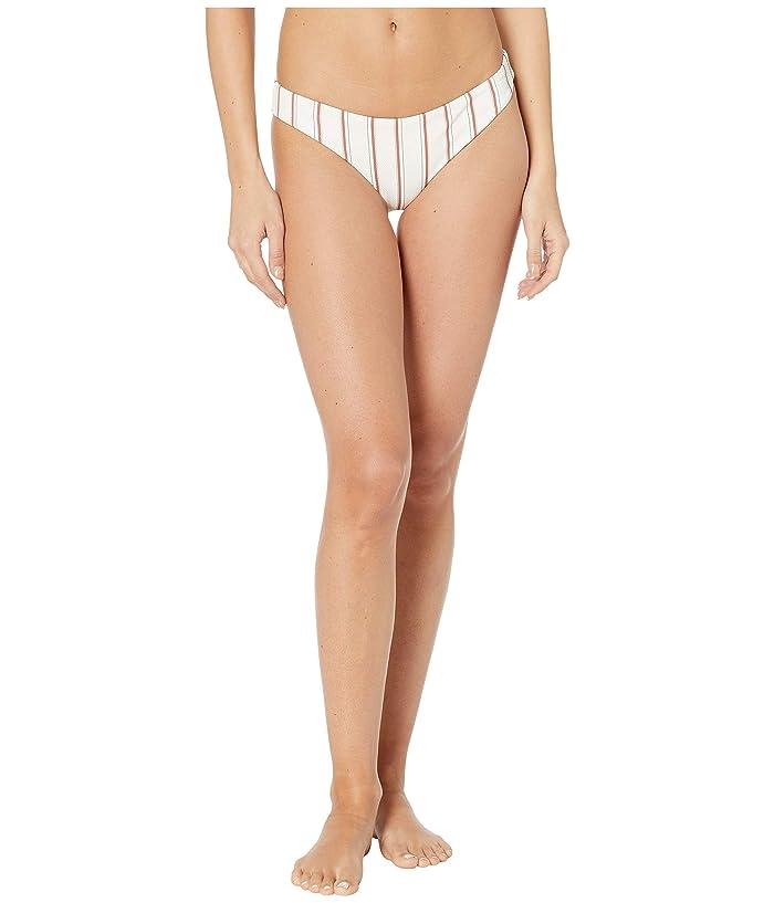 Eberjey  Summer Stripes Annia Bikini Bottoms (Ecru/Redwood) Womens Swimwear