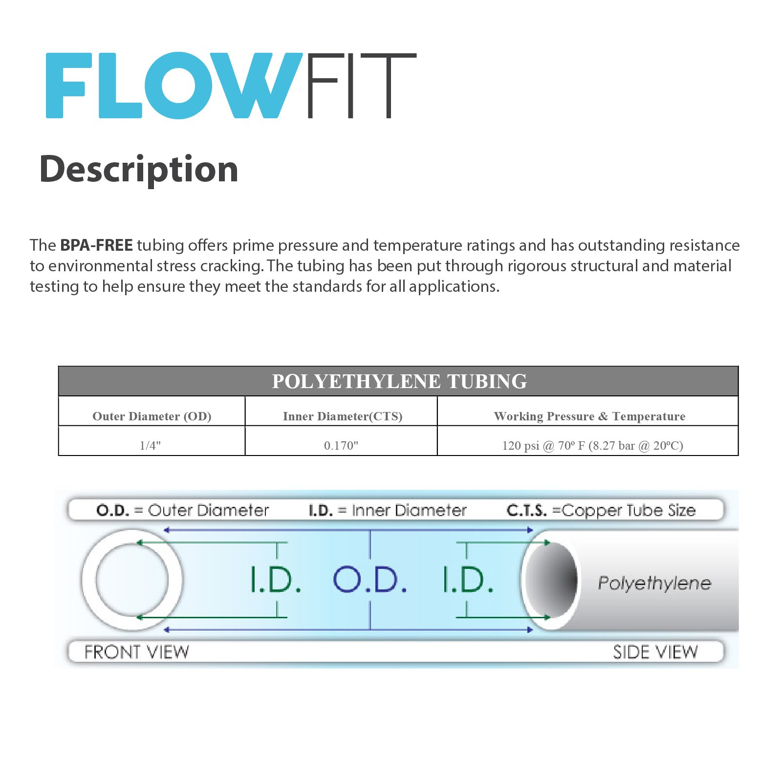 "Express Water 1//4/"" Quarter Inch Polyethylene PE Tubing for Reverse Osmosis RO System Black 500 Feet BPA Free"