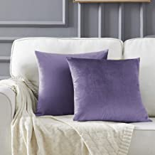 GIGIZAZA Decorative Throw Pillow Covers,20 x 20 Violet Couch Pillow Covers,Velvet Square Cushion Covers
