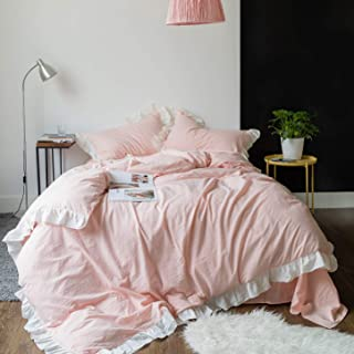 SUSYBAO 3 Pieces Ruffle Duvet Cover Set 100% Natural Washed Cotton King Size Pink white Stripe Rural Romantic Sweet Girls Bedding with Zipper Ties 1 Duvet Cover 2 Pillow Shams Luxurious Soft Easy Care
