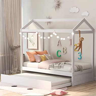 Harper & Bright Designs House Bed Daybed with Trundle, Twin Size House Bed Frame and Roof, Twin Trundle Daybed for Kids,