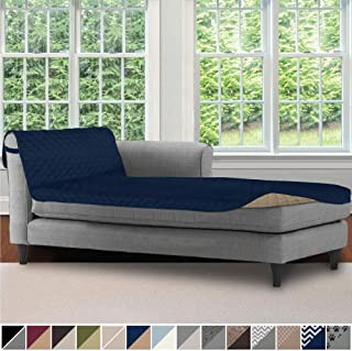 Sofa Shield Original Patent Pending Reversible Sofa Chaise Protector, 102x34 Inch, Washable Furniture Protector, 2 Inch Strap, Chaise Lounge Slip Cover for Pets, Dogs, Kids, Cats, Navy Sand