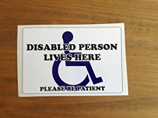 Vinyl Stickers Disabled Person Lives Here Wheelchair Door Sign
