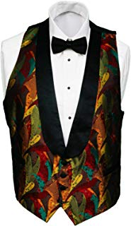 Mens Reversible Black Solid or Multi Colored Tuxedo Vest