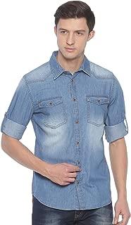 Raa Jeans Men's Denim Light-Blue Solid Full-Sleeves Shirt