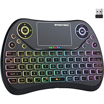 (Newest Version) PONYBRO Backlit Mini Wireless Keyboard with Touchpad Mouse Combo QWERTY Keypad,Rechargeable Handheld Keyboard Remote for Smart TV,Android TV Box,KODI,Raspberry Pi,PC