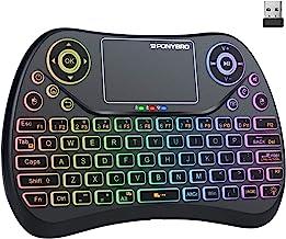 (جدیدترین نسخه) PONYBRO Mini Keyboard Keyboard با ماوس تاچ پد ، صفحه کلید از راه دور دارای نور پس زمینه ، صفحه کلید دستی قابل حمل بی سیم و کیبورد کوچک برای Android ، Windows ، Mac OS ، Linus.PC ، تلویزیون ، نوت بوک ها. (MK1)