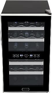 Whynter WC-181DA 18 Bottle Dual Zone Touch Control Trim Wine Cooler, Black