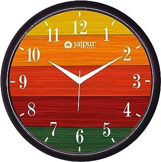 JaipurCrafts Ajanta Step Movement Premium 11-inch Plastic Striped Black Frame Wall Clock