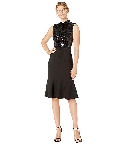 Maggy London Band Collar Mermaid Dress (Black) Women