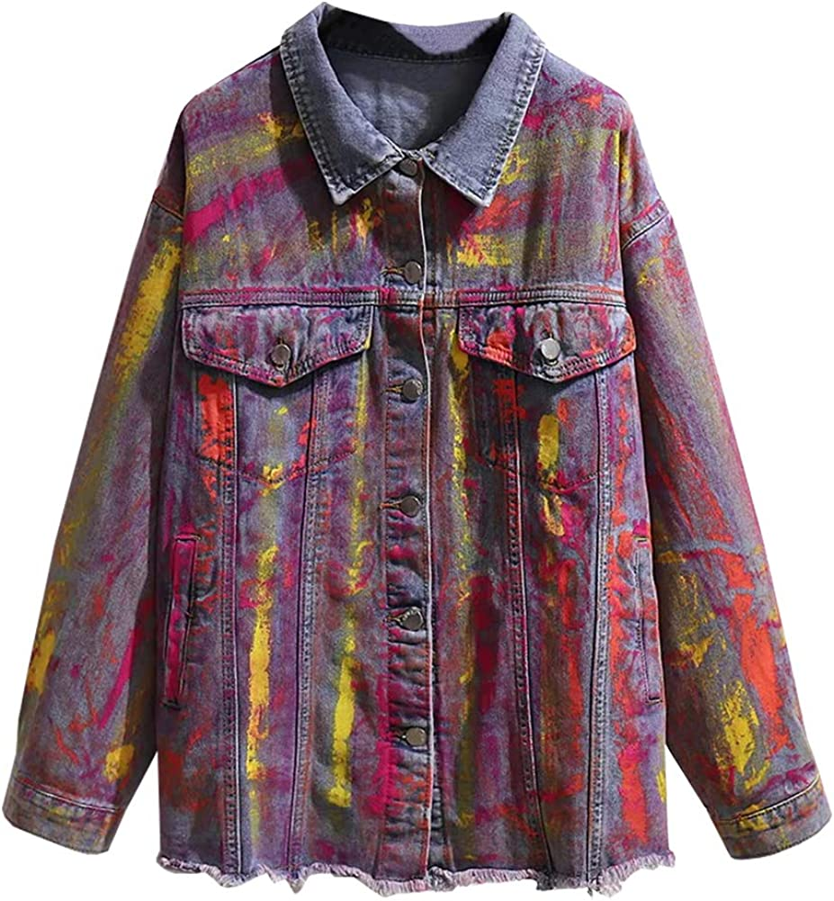 SCOFEEL Women's Long Denim Jacket Button Down Long Sleeve Frayed Jean Jacket Plus Size