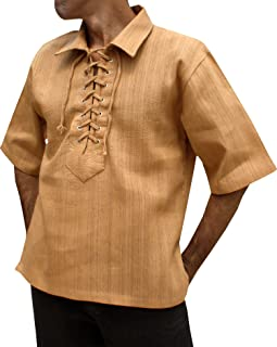 Svenine 厚织 Hum 棉欧洲领短袖文艺复兴衬衫