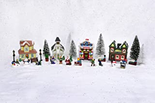 Ellie Arts Christmas Village Accessories Includes Houses, Trees, Figurines, Snow Blanket. Create Your own Miniature Town with This Adorable Christmas Village Set.