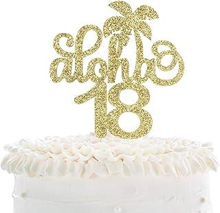 Aloha 18th Birthday Cake Topper - Gold Glitter Eighteen Years Wedding Anniversary Supplies - Cheers To Fabulous 18 - Hawai...