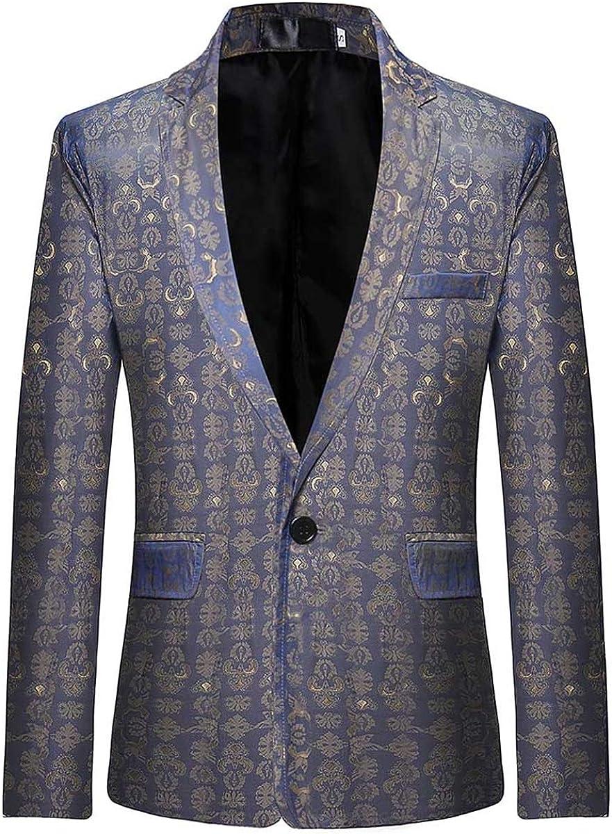 Mens Floral Balzer Dinner Dress Suit Jacket Casual 1 Button Jacquard Sport Coat