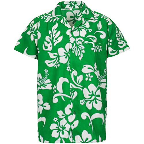 ee78ebc31 V.H.O. Funky Hawaiian Shirt Men Short-Sleeve Front-Pocket Hibiscus Multiple  Colors