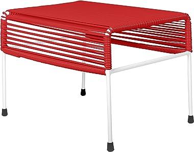 Innit Designs Adam Ottoman, Red Weave on White Frame
