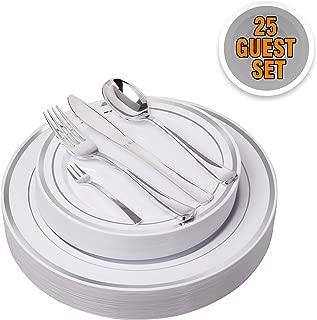 125 Pieces Premium Quality Heavyweight Tableware/Elegant Plastic Disposable dinnerware: 25 Dinner Plates, 25 Salad or Dessert Plates & 25 Polished Silver Forks Knives & Spoons - Bonus 25 Dessert Forks