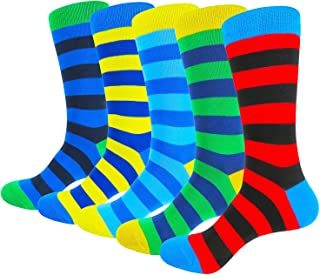 HIWEAR Mens Colorful Funky Cool Design Rich Cotton Comfort Dress Crew Socks 5 Pack
