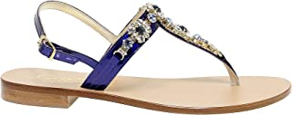 Luxury Fashion | Capri Women CAPRI19B17B Blue Leather Sandals | Season Outlet